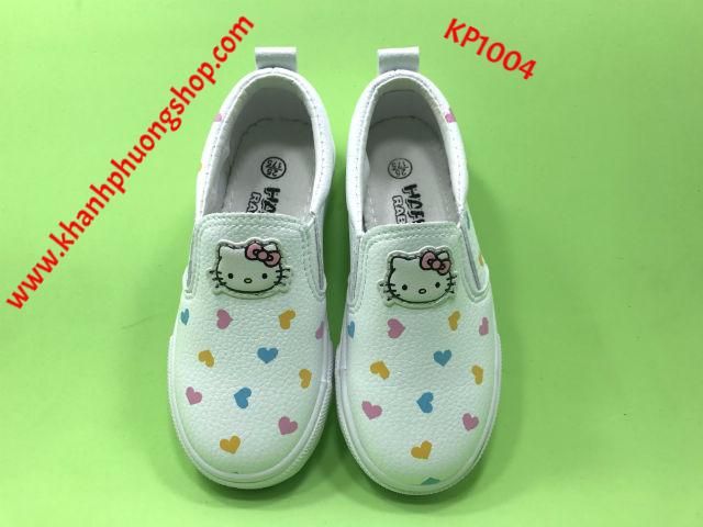 giày slip on trắng hình mèo kitty