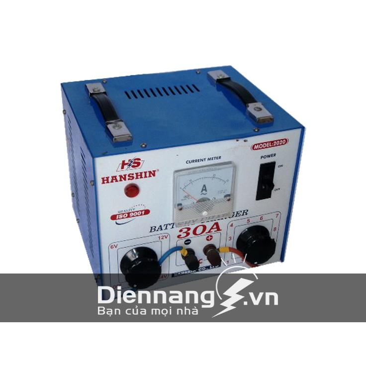 Máy sạc (Nạp) ắc quy Hanshin 30A (12V - 24V) - dây nhôm