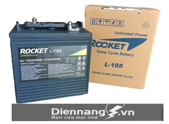 Ắc quy xe điện xe Golf ROCKET L-105 (GC2-105) (6V - 225Ah)