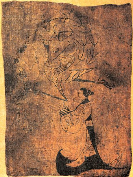 'Lady, Dragon and Phoenix' ancient Chinese silk painting (476-221 BC)