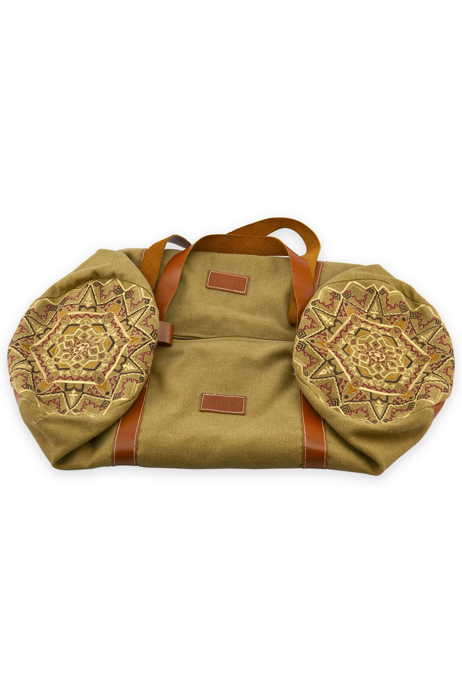 Túi du lịch Embroidered Canvas & Leather Barrel Bag 60x25D/Peanut Brown