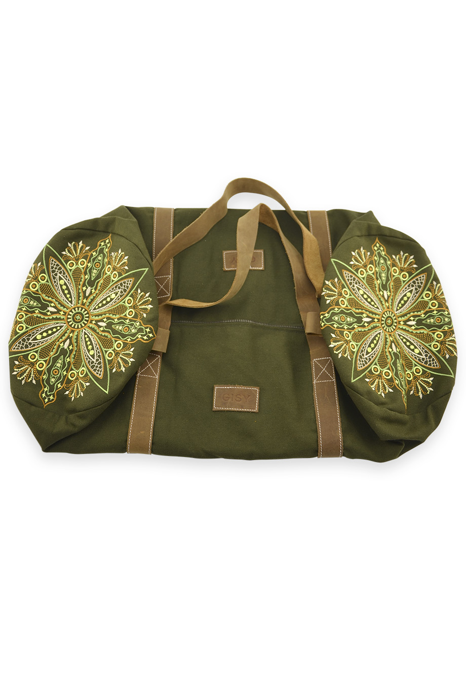 Túi du lịch Embroidered Canvas & Leather Barrel Bag 60x25D/Moss Green