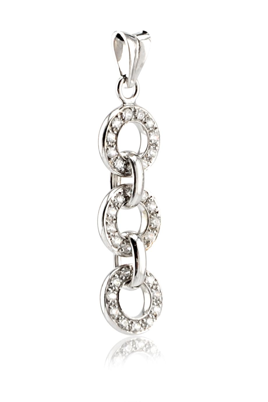 Mặt dây chuyền Bạc 925 Triple Circles Crystal Silver 925 Pendant (9x38mm)