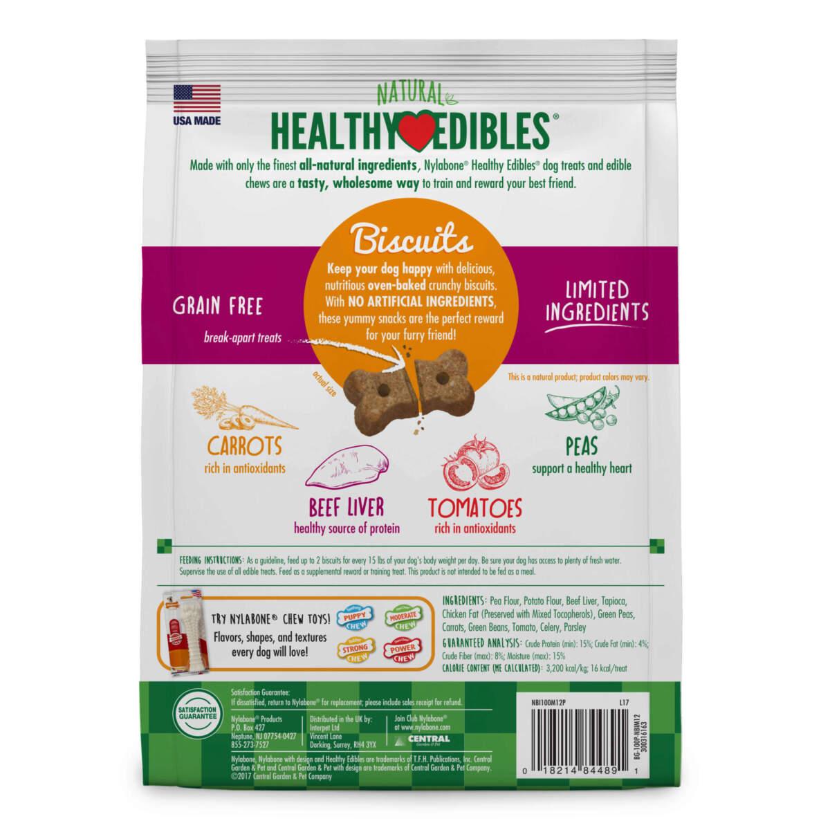 Nylabone Healthy Edibles Biscuits Beef & Veggie Flavor 341g