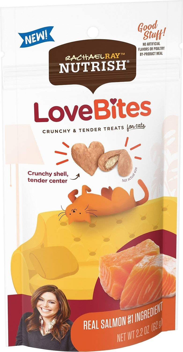 Rachael Ray Nutrish LoveBites Crunchy and Tender Treats for Cats Real Salmon 62g
