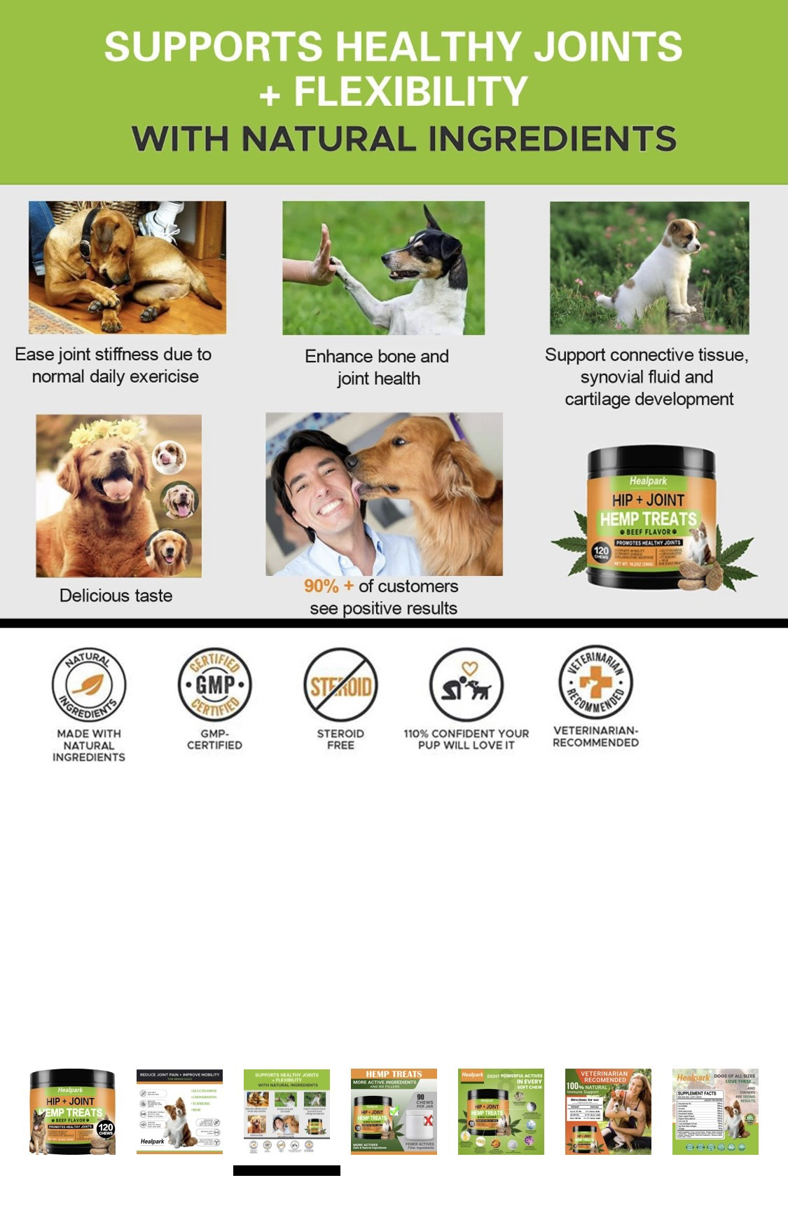 Healpark Hip and Joint Supplement for Dogs - Hemp Chew Treats - Beef - 120 chews