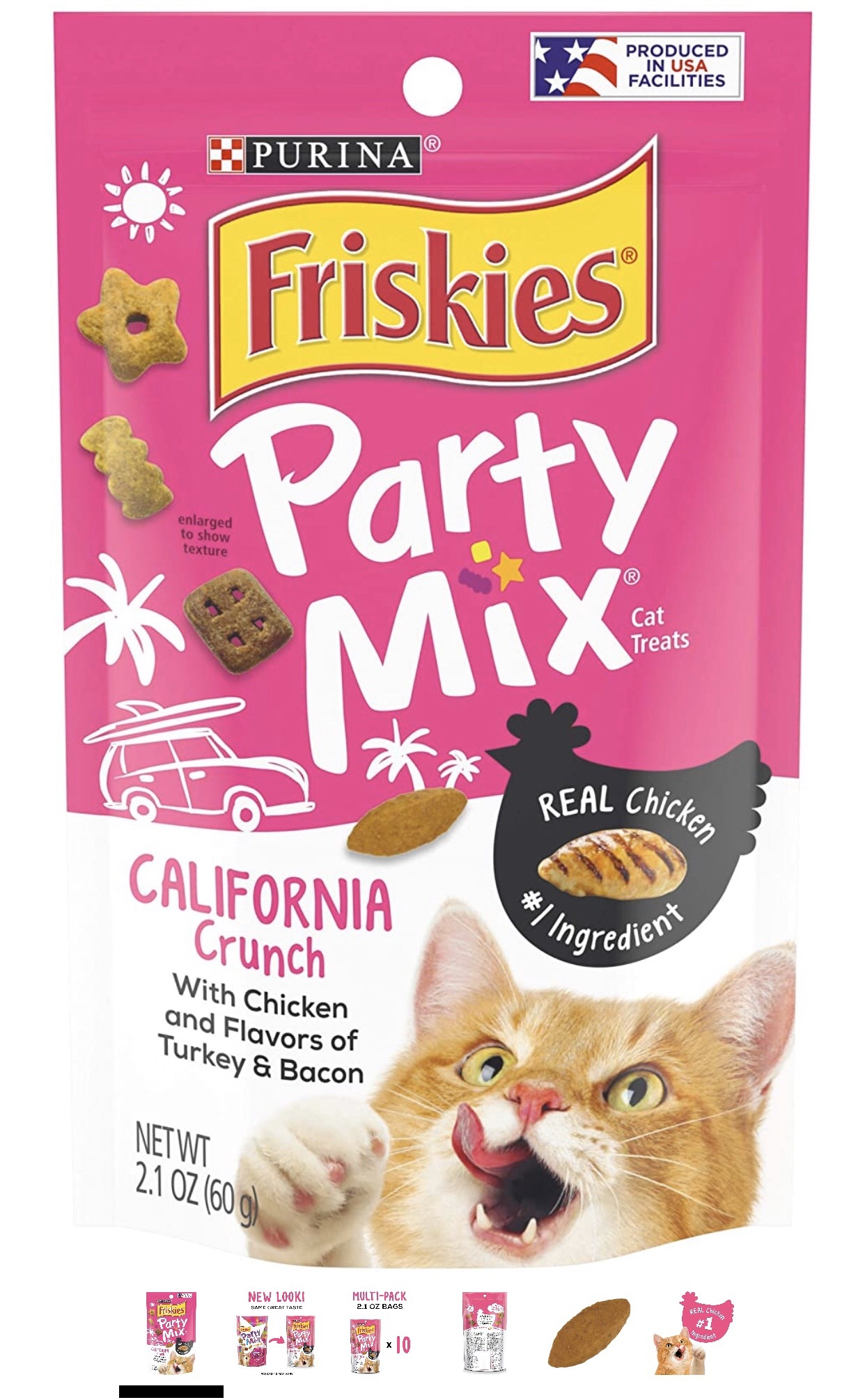 Friskies Party Mix With Chicken and Flavors of Turkey & Bacon 60g