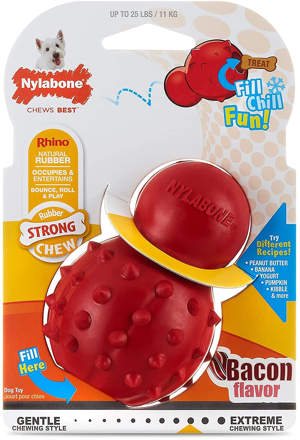 Nylabone Strong Chew Cone Stuffable Chew Toy for Dogs Bacon Flavor Small/Regular - Up to 25 Ibs