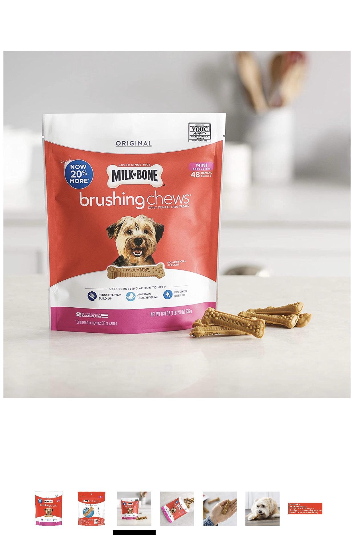Milk-Bone Brushing Chews Daily Dental  Mini Dog Treats 536g