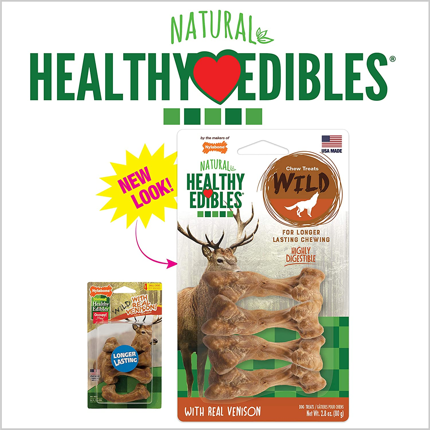 Nylabone Healthy Edibles With Real Venison 2.8oz