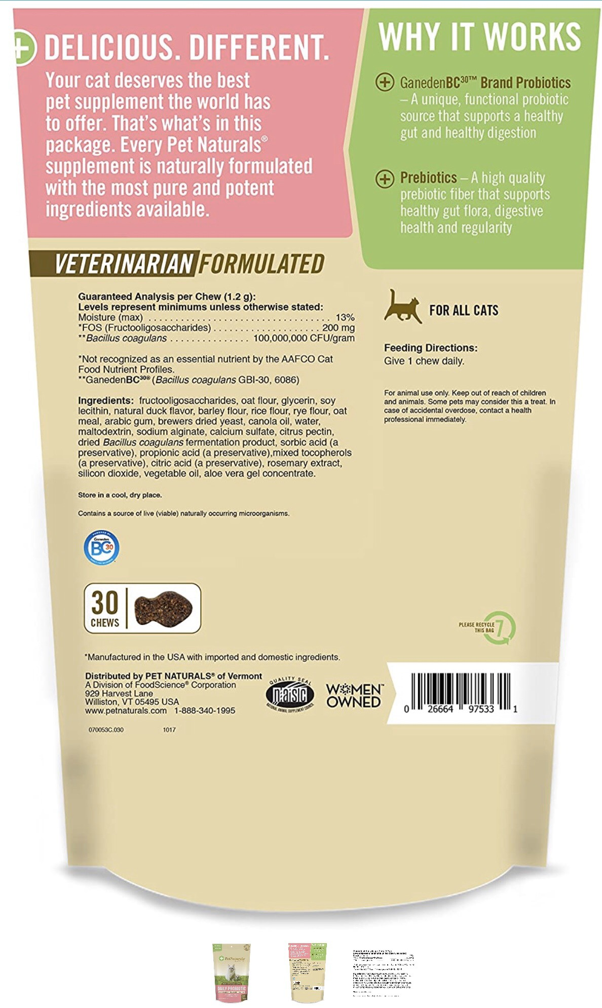 PetNaturals Daily Probiotic for Cats of All Sizes