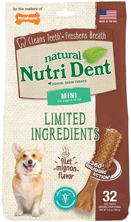 Nylabone Nutri Dent Mini Limited Ingredients Filet Mignon Flavor 32c