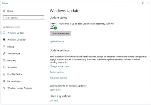 Setting Update & security Windows Update.