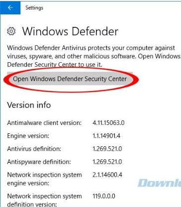 Tiếp tục click vào Open Windows Defender Security Center.