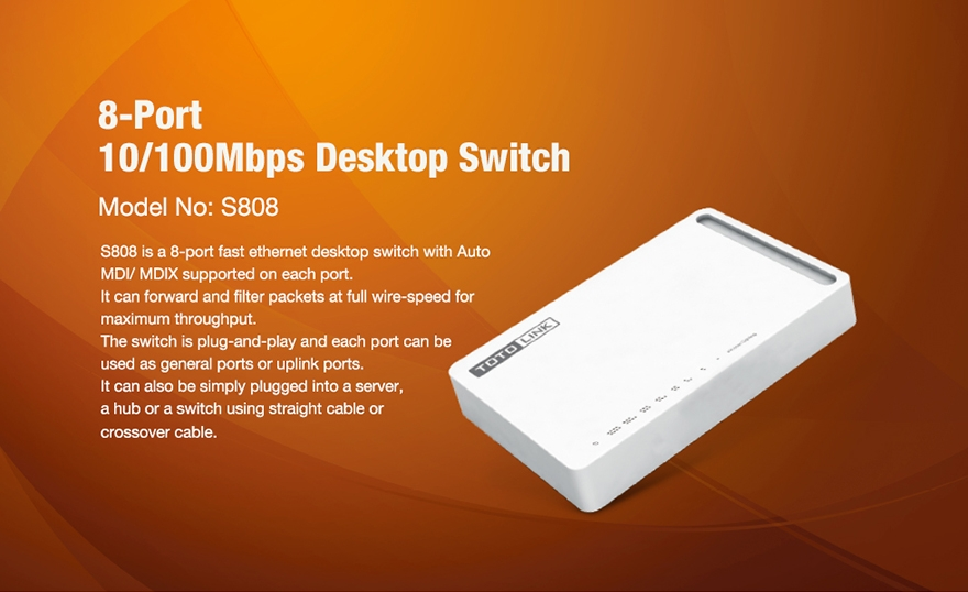 Cổng Chia Mạng Switch 8 Port Totolink 100Mbps S808