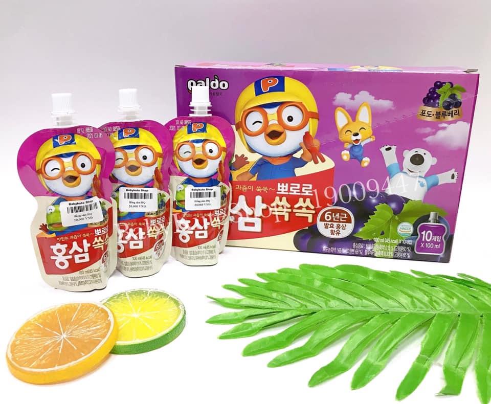 Nước Hồng Sâm Hoa Quả Paldo Pororo Korea ( Vị Nho )