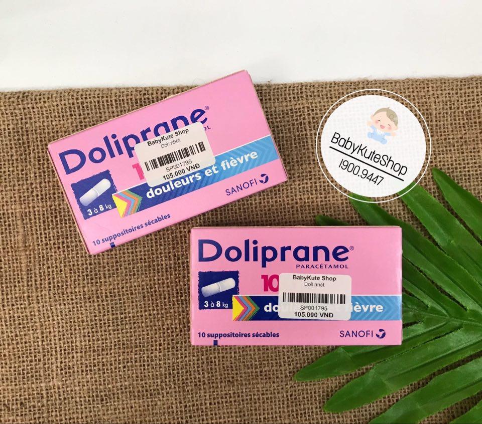 Thuốc nhét hậu môn hạ sốt Doliprane 100mg cho bé từ 3 - 8kg