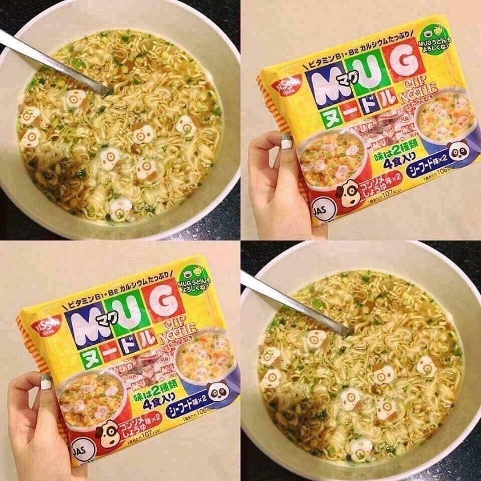 Mì Mug vàng Nissin Nhật Bản vị thịt và trứng