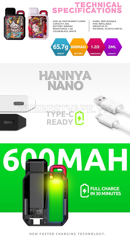 Bán vape pod system HANNYA NANO chính hãng Vapelustion giá rẻ tphcm