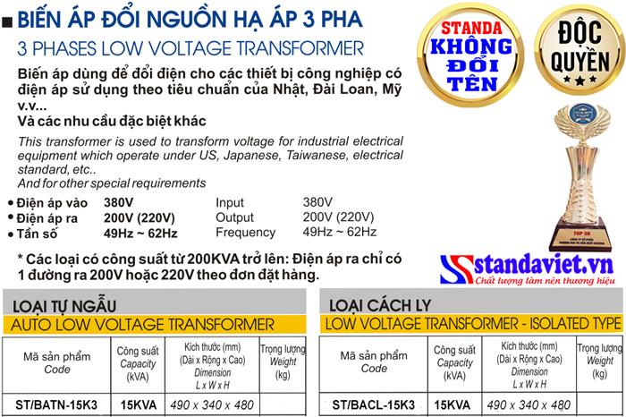 Thông số kỹ thuật Biến áp Standa 15kVA 3 pha