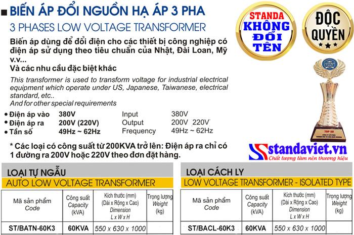Thông số kỹ thuật Biến áp Standa 60kVA