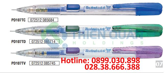 Bút chì kim bấm giữa, thân nhựa trong 0.7mm