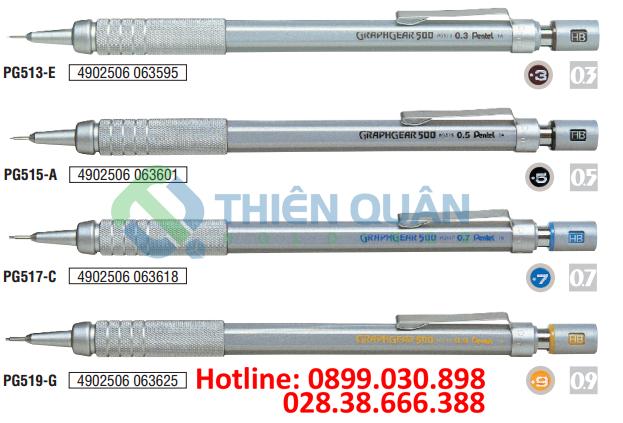 Bút chì kim kỹ thuật, thân kim loại, bấm inox 0.3mm