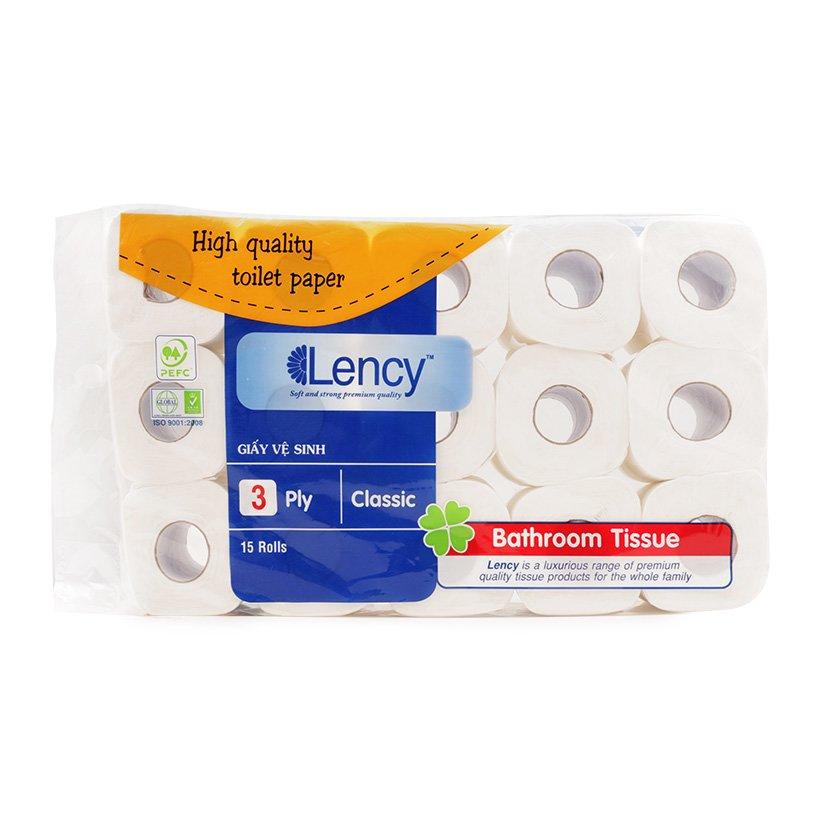 Giấy vệ sinh Lency 15 cuộn cao cấp (3 lớp)