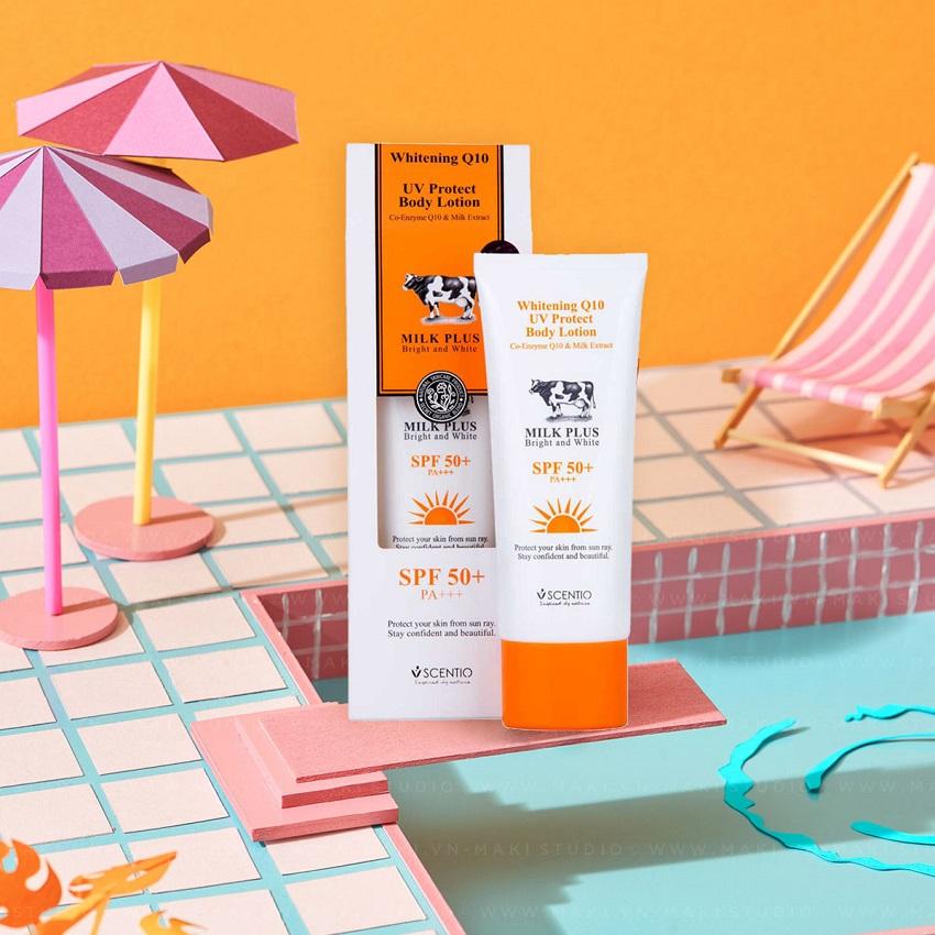 Dưỡng thể chống nắng và dưỡng trắng toàn thân Scentio Milk Plus SPF50+ PA+++ 100ml