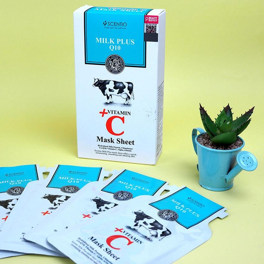 Mặt nạ giấy dưỡng trắng và trẻ hóa da Scentio Milk Plus Vitamin C (1 miếng)