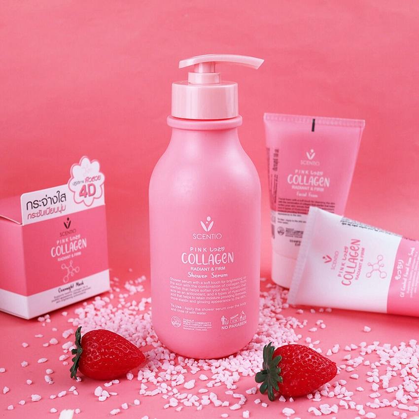 Sữa tắm làm trắng và săn chắc da Scentio Pink Collagen 350ml