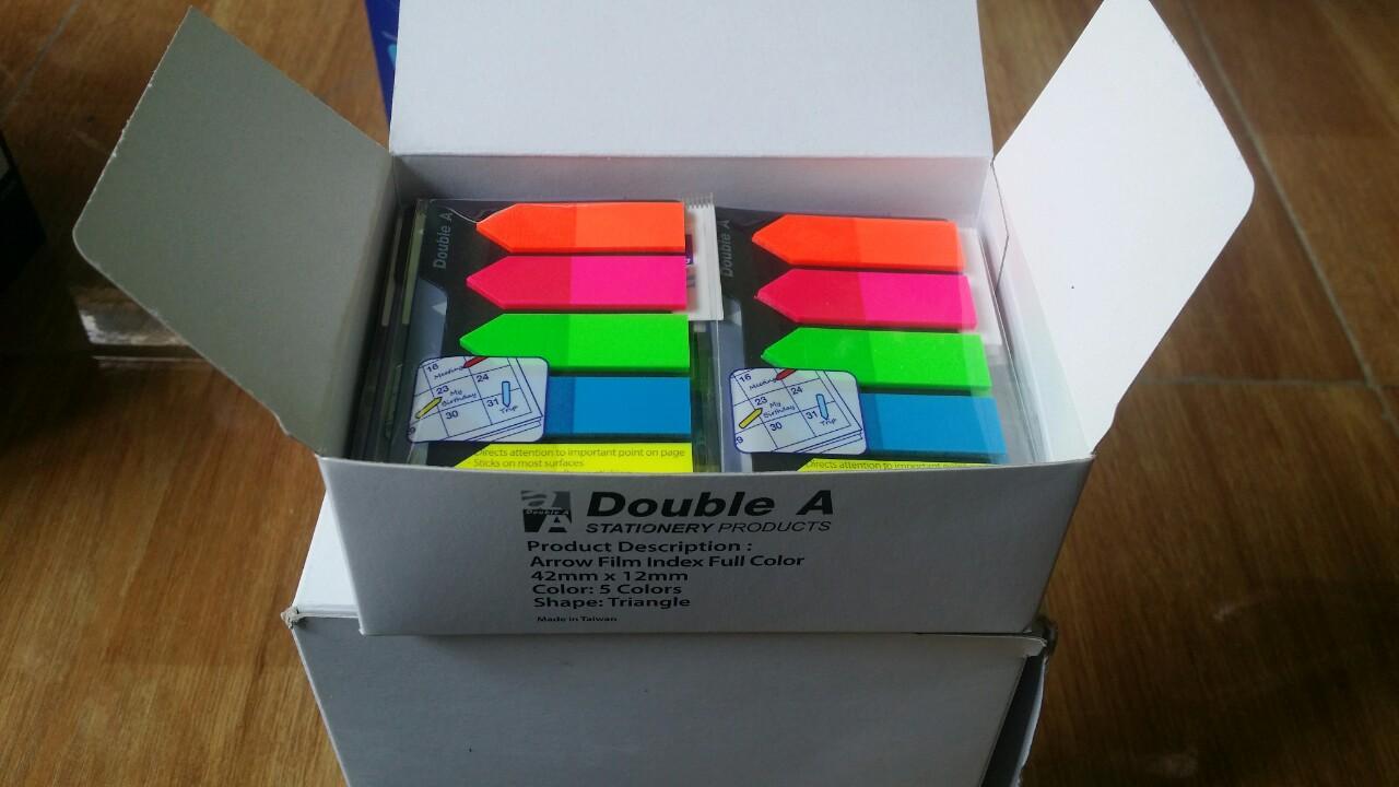 Phân trang mũi tên Double A 42mmx12mm,5 màu dạ quang