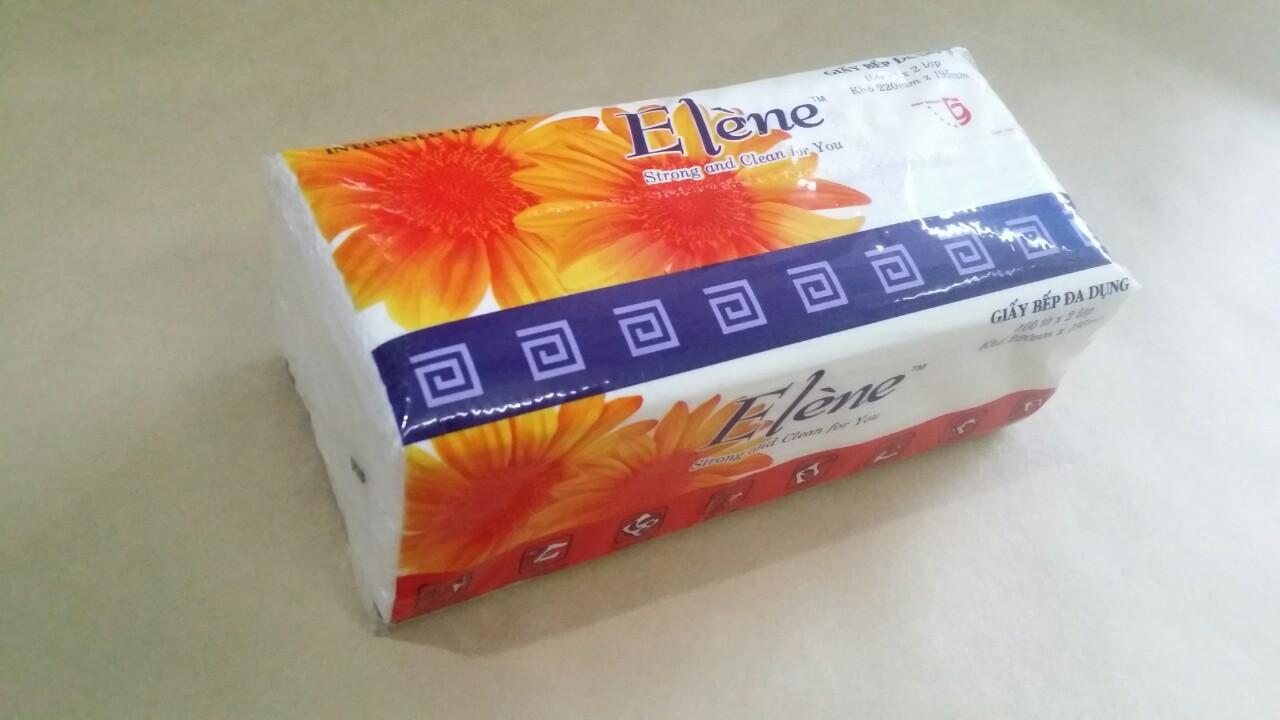 Khăn giấy bếp đa dụng Elene gói 100 tờ 2 lớp (220 x 195mm)