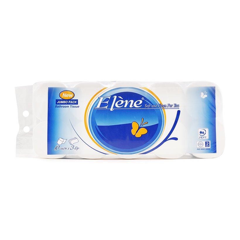 Giấy vệ sinh Elene xanh 10 cuộn 3 lớp không lõi