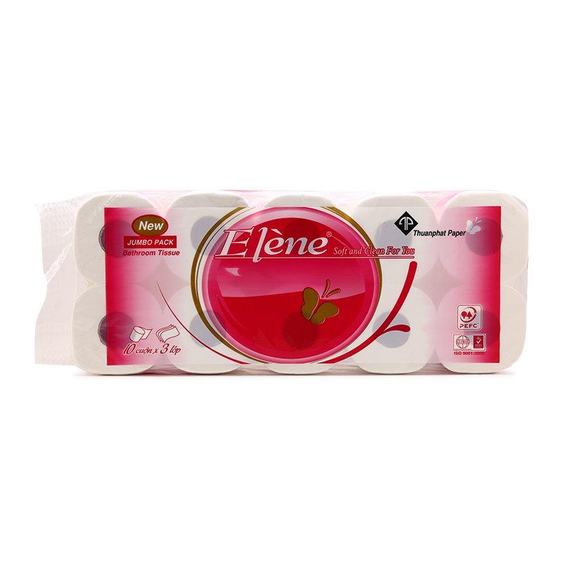 Giấy vệ sinh Elene hồng 10 cuộn 3 lớp
