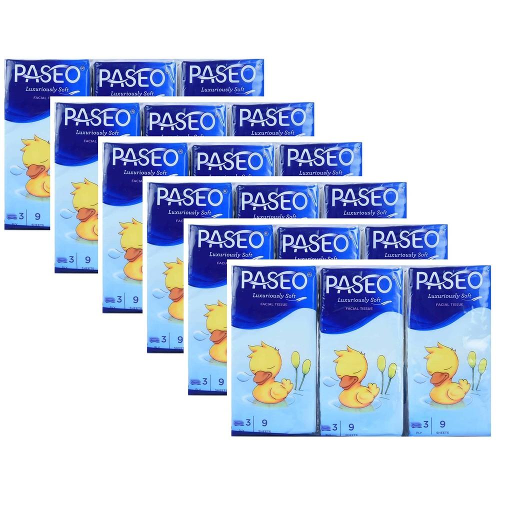 Lốc 6 gói Khăn giấy bỏ túi Paseo Duck Hanky 9 tờ x 3 lớp