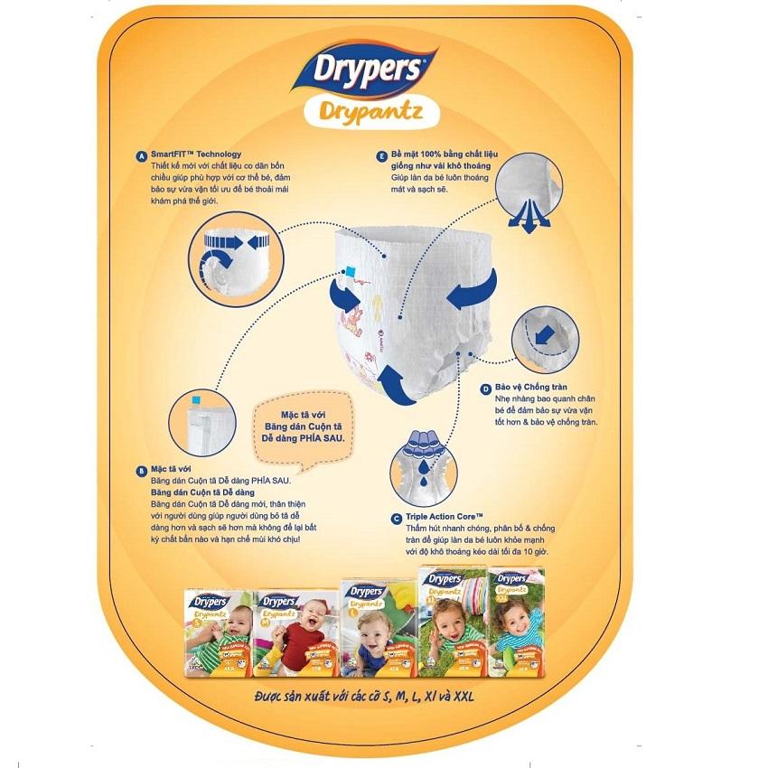 Tã bỉm quần DRYPERS DRYPANTZ XXL8 (bé 15 - 25 Kg)