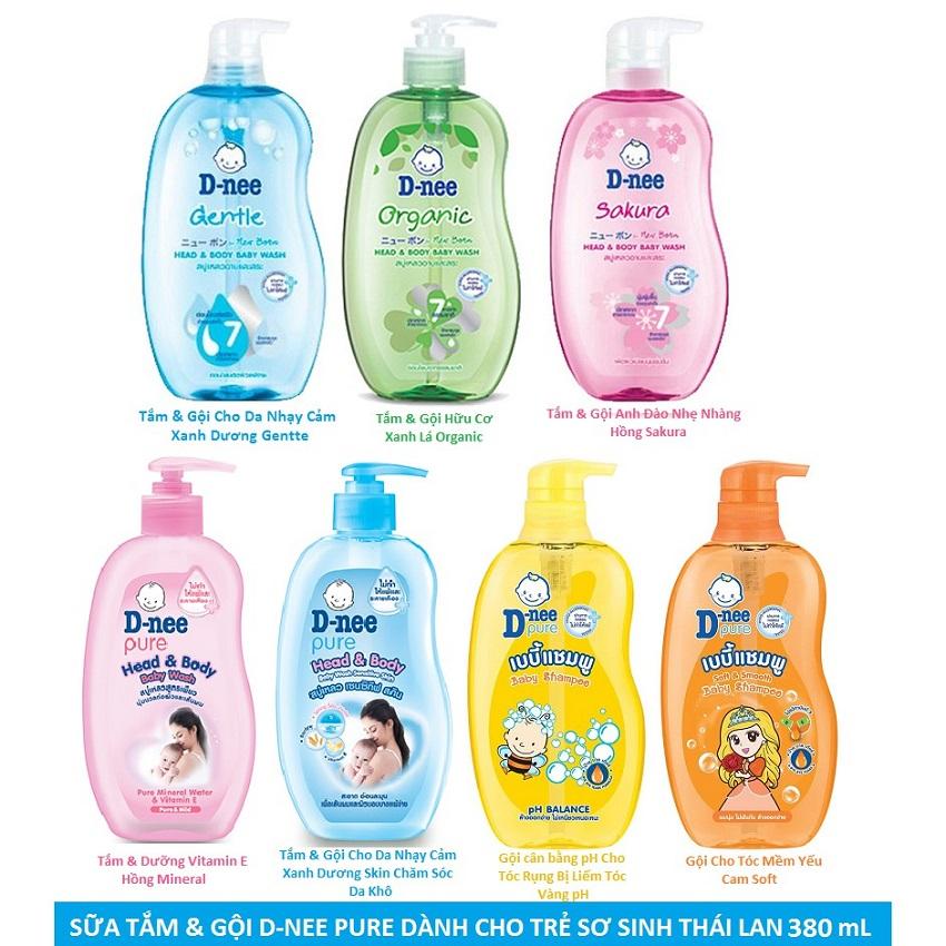Sữa tắm gội toàn thân em bé Dnee- 380ml