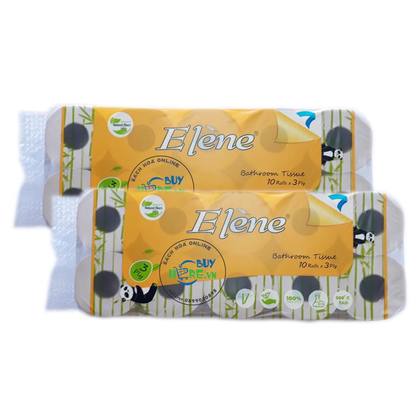 Giấy vệ sinh Elène tre vàng, 10 cuộn cao cấp có lõi