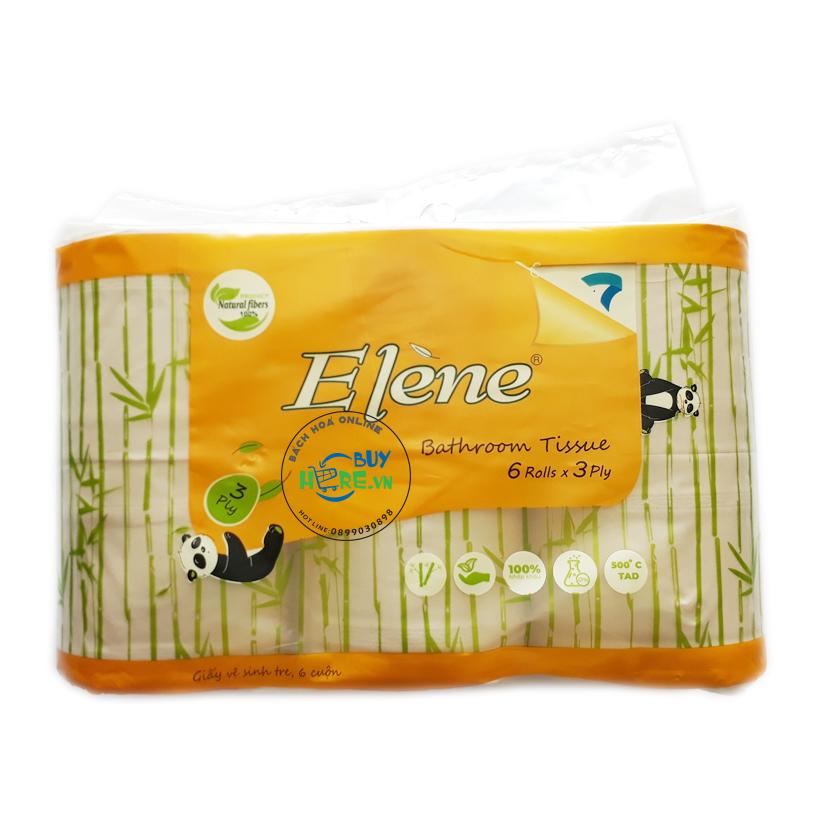 Giấy vệ sinh Elène tre vàng, 06 cuộn cao cấp có lõi ( 3 LỚP)