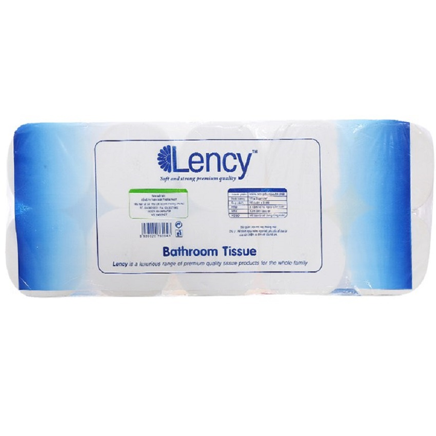 Giấy vệ sinh Lency xanh 10 cuộn cao cấp không lõi