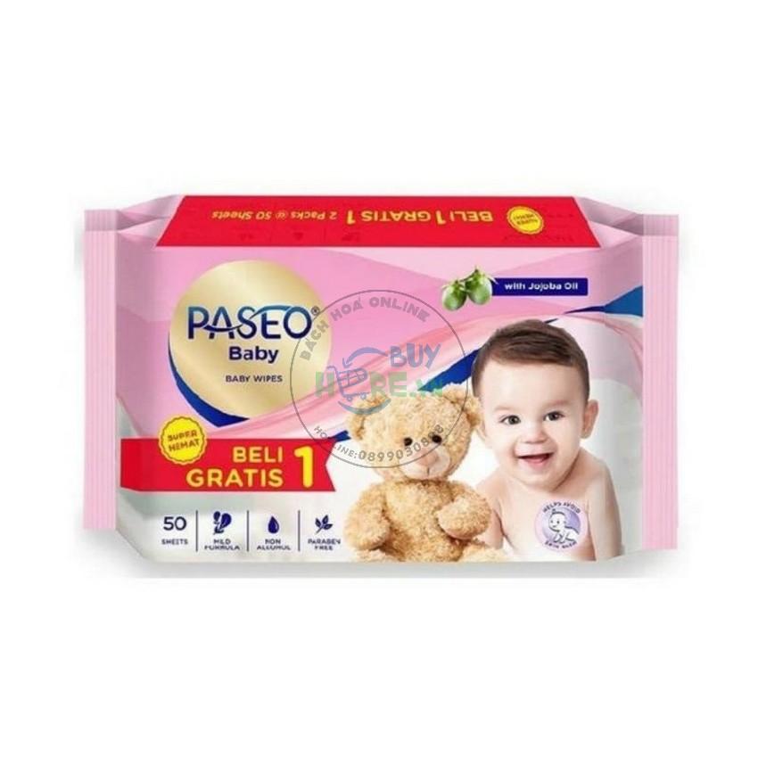 [Mua 1 tặng 1] Khăn ướt em bé Paseo 50 tờ chiết xuất tinh dầu quả Jojoba [Hàng Nhập Indonesia]