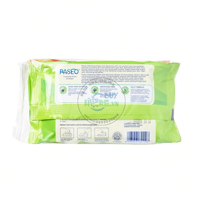 [Mua 1 tặng 1] Khăn ướt kháng khuẩn Paseo 50 tờ chiết xuất Lô Hội [Hàng nhập Indonesia]