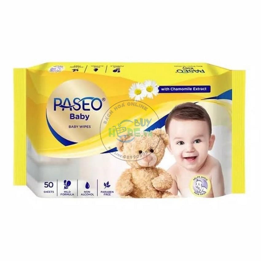 [Mua 1 tặng 1] Khăn ướt em bé Paseo 50 tờ chiết xuất tinh dầu hoa cúc La Mã [Hàng nhập Indonesia]