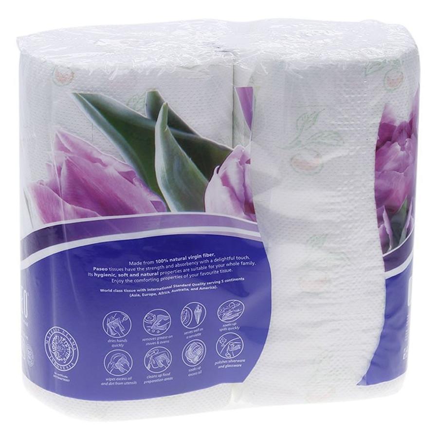 Paseo Elegant khăn bếp cuộn đa năng 70 tờ 2 lớp có in hoa