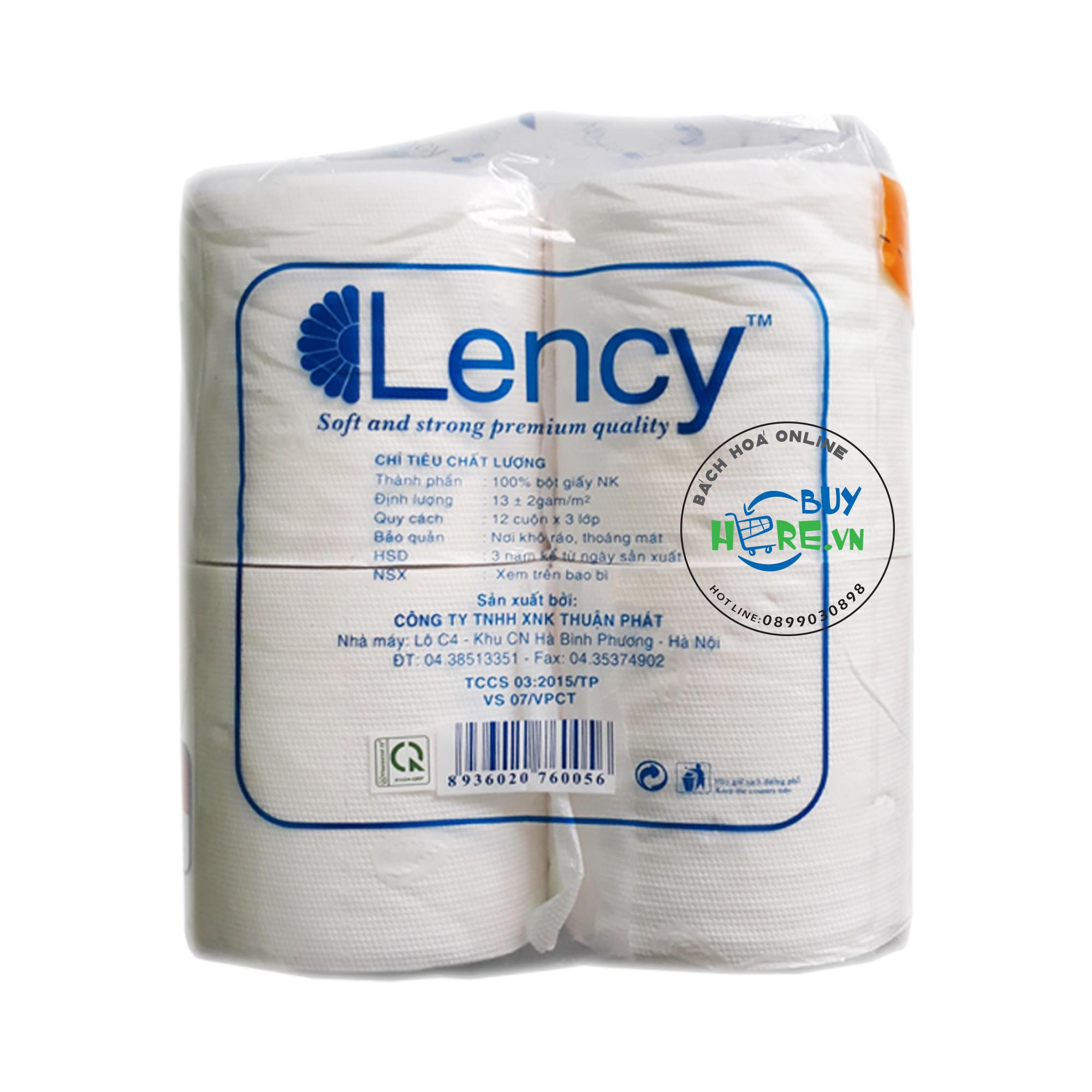 Giấy vệ sinh Lency 12 cuộn 3 lớp