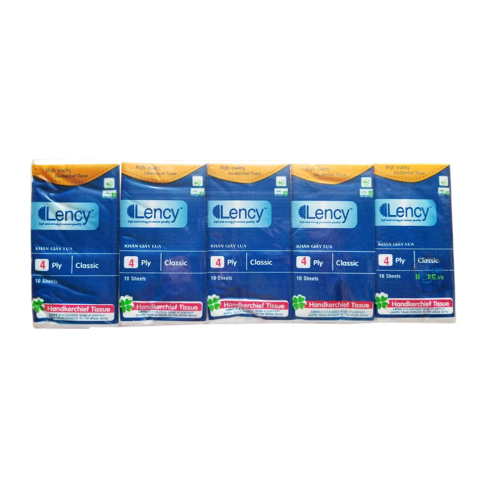 Lốc 10 gói Khăn giấy lụa bỏ túi Lency Handkerchief 10 tờ ( 4 lớp )