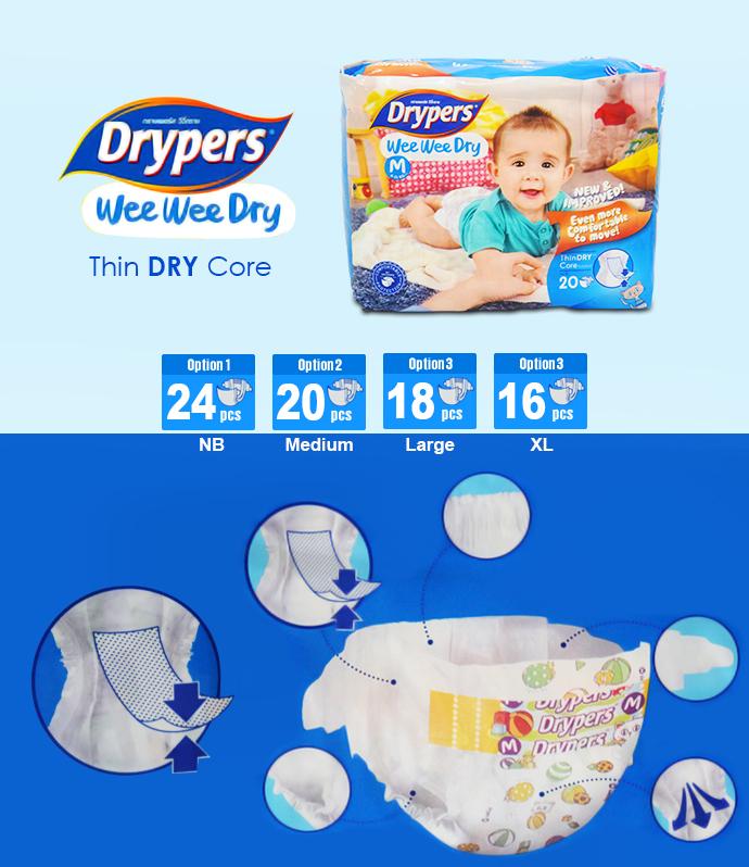 Tả - bỉm DRYPERS WEE WEE DRY L18 (bé 9 -14 Kg)