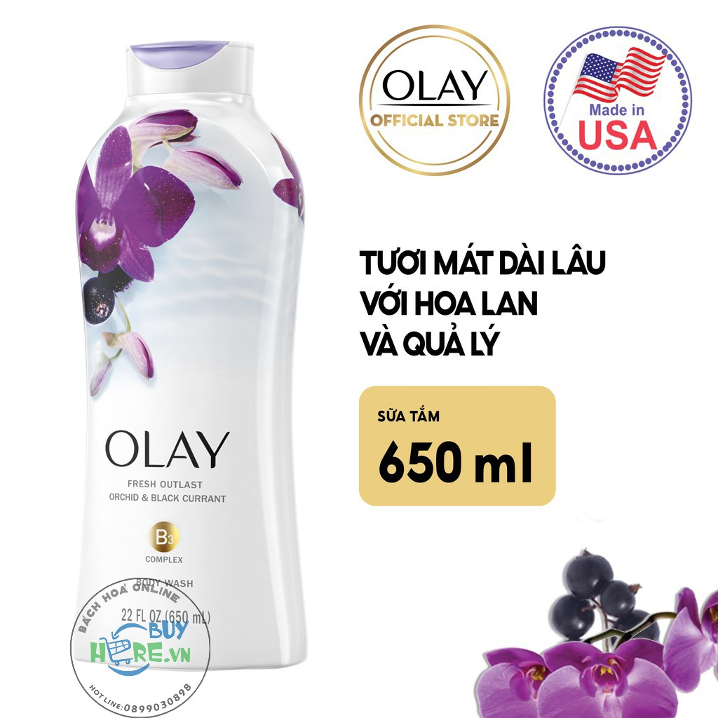Sữa Tắm Olay Fresh Outlast Soothing Orchid & Black Currant 650ml