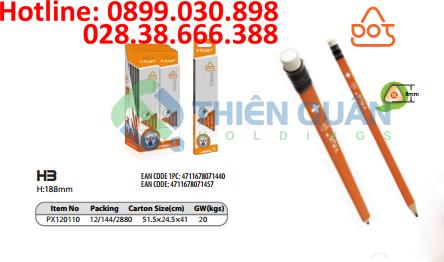 Bút chì gỗ thân cam có tẩy,HB-DOT - Y- PLUS+